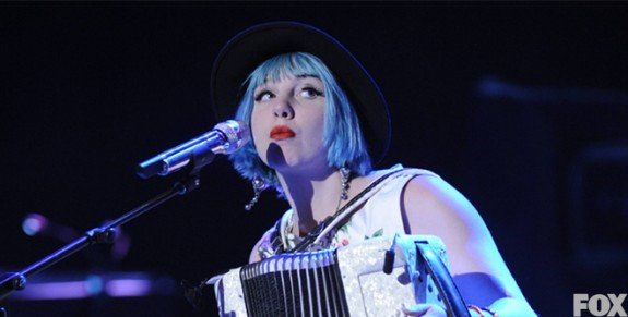 Joey Cook works the squeezebox in Detroit. (American Idol)